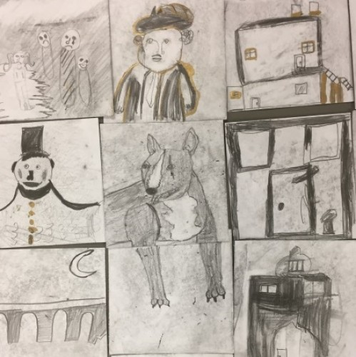 A Christmas Carol story tiles, inspired by Laura Carlin Ceramics, Year 5, Robert Blair Primary