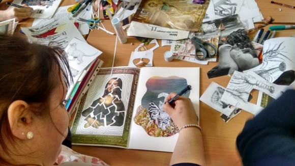 Collage and image intervention – sketchbook activity at a whole-school CPD course