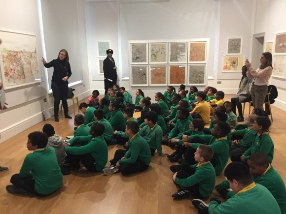 Princess May Primary School pupils with Lucinda Rogers at House of Illustration