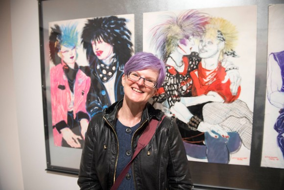 Val with Jo Brocklehurst's drawings of her