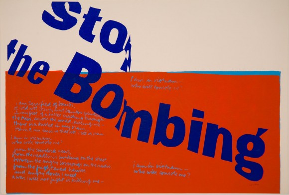 stop the bombing, 1967, serigraph © Corita Art Center Immaculate Heart Community Los Angeles