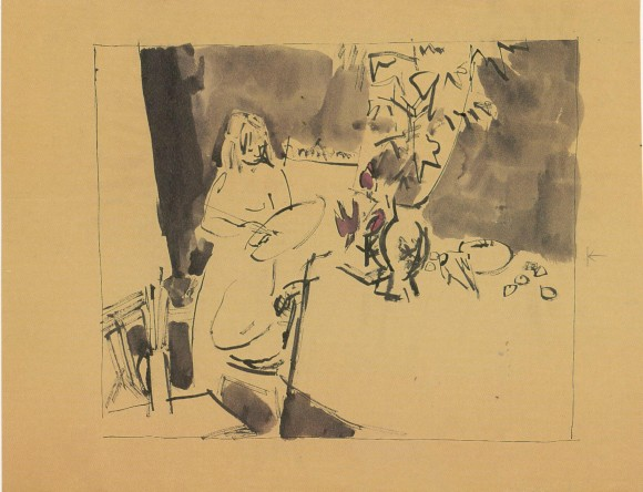 From memory after Life Class, drawn with plastic quill, 1957 © Quentin Blake