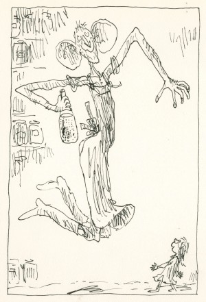 (Currently unpublished) drawing from the first version of The BFG © Quentin Blake (crop)